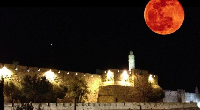 Blood Moon seen vivid in Jerusalem.
